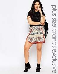 Alice And You Mixed Print Shorts With Pom Pom Trim Multi