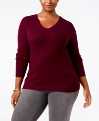 Charter Club Plus Size Cashmere V Neck Sweater Only At Macy's Black Cherry