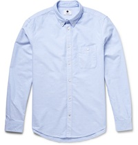 Nn.07 New Derek Slim Fit Button Down Collar Cotton Oxford Shirt Blue