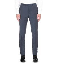 Sandro Slim Fit Tapered Wool Flannel Trousers Blue