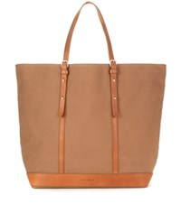 Vanessa Bruno Cabas Medium Leather Trimmed Canvas Shopper Brown