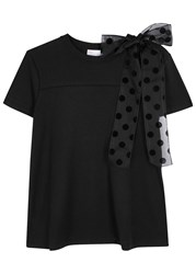 Red Valentino Black Bow Embellished Cotton T Shirt