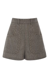 Red Valentino Embellished High Waist Tweed Shorts Brown