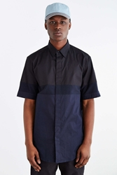 Shades Of Grey By Micah Cohen Colorblock Button Down Shirt Black