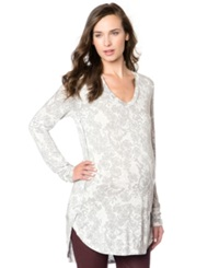 A Pea In The Pod Maternity Floral Print High Low Tunic Top Grey Lace Print
