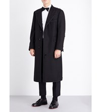 Thom Browne Single Breasted Wool And Mohair Blend Coat Black
