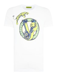 Versace Jumping Tiger Print Crew Neck T Shirt White