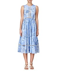 Cynthia Rowley Paisley Midi Dress Sky Blue