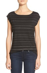 Petite Women's Halogen Embellished Boatneck Tee Black