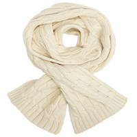 John Lewis Rope Cable Knit Scarf Cream