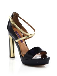 Ralph Lauren Estella Crisscross Patent Leather Sandals Navy Gold