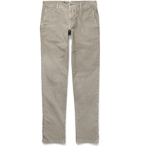 Incotex Slim Fit Brushed Stretch Cotton Twill Chinos Gray