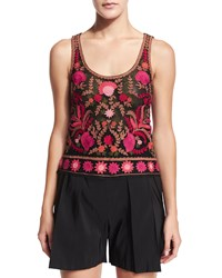Naeem Khan Sleeveless Thread Embroidered Top Red Black Multi Red Black Multi