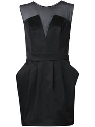 Pierre Balmain Sheer Yoke Mini Dress Black