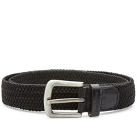 Barbour Stretch Webbing Leather Belt Black