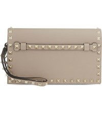 Valentino Rockstud Small Leather Wristlet Clutch Poudre