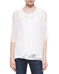 Johnny Was Daisy Half Sleeve Scalloped Blouse
