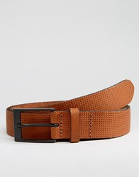 Asos Smart Leather Belt With Emboss Brown