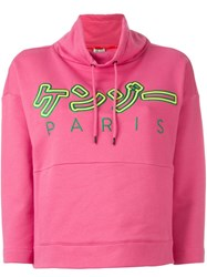 Kenzo Embroidered Hoodie Pink And Purple
