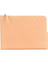 Paul Smith Embossed Zip Clutch Nude And Neutrals