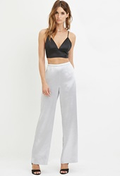 Forever 21 Textured Satin Wide Leg Pants Silver