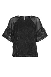 French Connection Apollo Lace Top Black