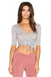Free People Giselle Wrap Top Gray