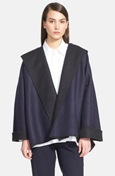 Eskandar Hooded Two Tone Wool And Cashmere Coat Navy Coal