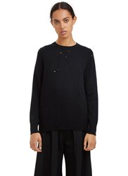 Yang Li Broken Crew Neck Sweater Black