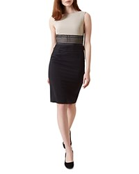 Hobbs London Renata Color Block Dress Latte Beige Black