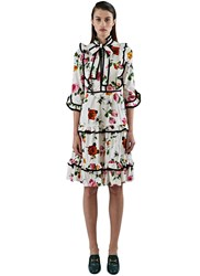 Gucci Floral Ruffle Tiered Dress Pink