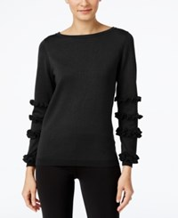 Ny Collection Ruffled Sleeve Sweater Black