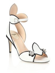 Fendi Flowerland Jeweled Leather Peep Toe Sandals White