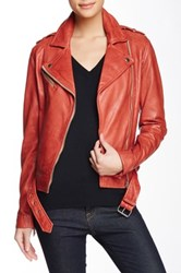 Soia And Kyo Kenley Distressed Leather Moto Jacket Red