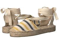 Soludos Striped Platform Gladiator Sandal Mustard Navy Natural Heavy Woven Canvas Women's Sandals Tan