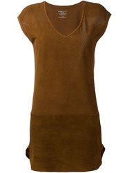 Majestic Filatures Perforated Leather Dress Brown