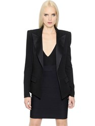 Alexandre Vauthier Wool Crepe Jacket With Satin Lapels