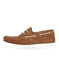 River Island Mens Tan Suede Boat Shoes