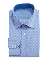 English Laundry Long Sleeve Square Dress Shirt Blue