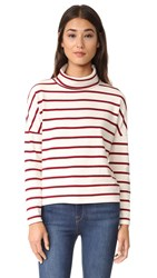 Stateside Turtleneck Top Wine Stripe