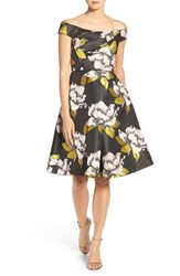 Adrianna Papell Women's Off The Shoulder Jacquard Dress