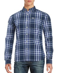 Superdry Plaid Button Front Shirt Electric Navy