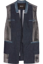 Raoul Leather Trimmed Denim And Honeycomb Mesh Vest Blue