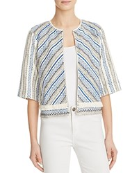 Guess Fringe Trim Embroidered Jacket Blue Multi
