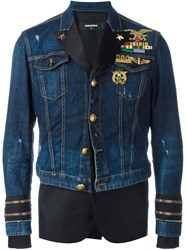 Dsquared2 Mixed Material Denim Jacket Blue