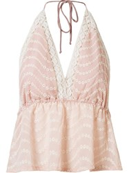 Skinbiquini Lace Insert Halter Neck Blouse Pink And Purple