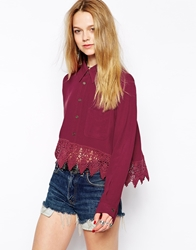 Kiss The Sky Crop Shirt With Lace Trim Rust