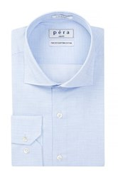 Pera Long Sleeve Slim Fit Mini Check Euro Dress Shirt Blue