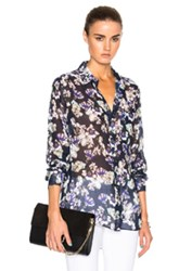 Marissa Webb Wesley Top In Blue Purple Floral Blue Purple Floral
