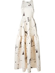 Rochas Giraffe Print Gown Nude And Neutrals